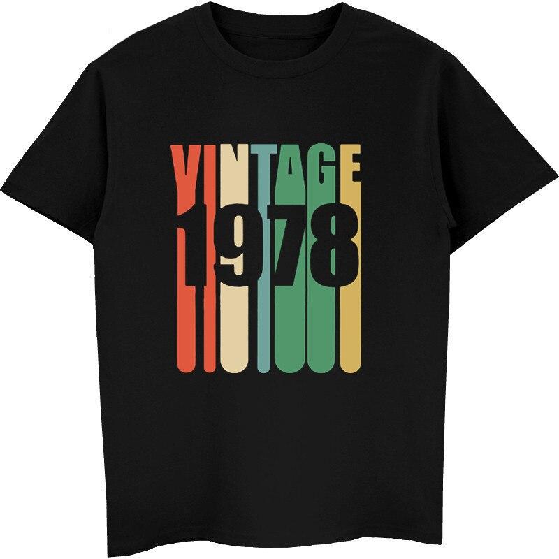 T-Shirt w stylu Vintage mężczyźni 1978 urodziny Retro designerskie koszule męskie bawełniane koszule z krótkim rękawem casualowe koszulki hip-hopowe topy Harajuku