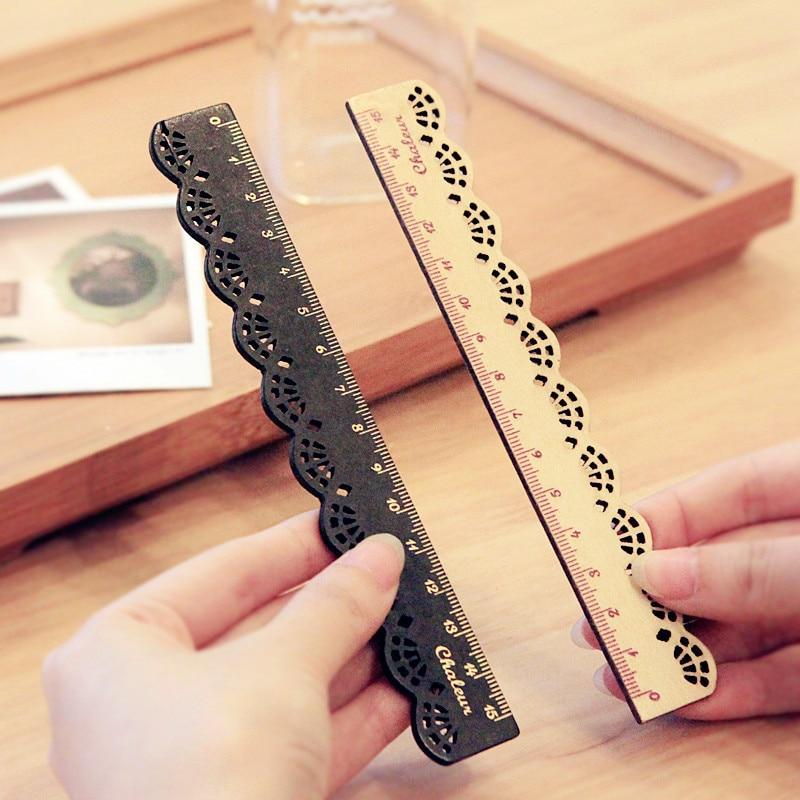 1 sztuk nowy 16CM Korea Zakka Kawaii śliczne biurowe koronki brązowy drewna linijka szycia linijka biuro szkoła promocyjne piśmienne