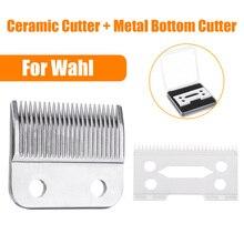 2Pcs Hair Clipper Ceramic Blade Cutter + Metal Bottom Beard Blade Cutter Knife With Box For Wahl Electric Shear Clipper Silver