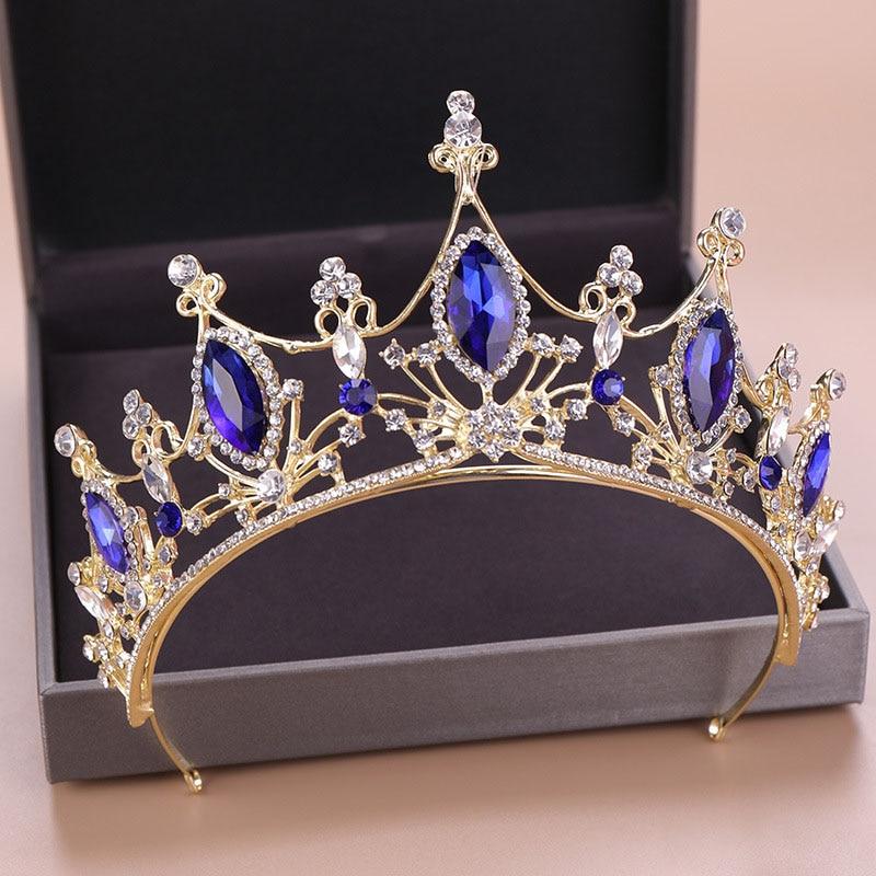 Barroco de cristal azul tiaras de novia y coronas de oro Vintage pelo accesorios boda diamantes de imitación diadema concurso joyería del pelo LB