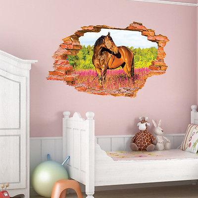 Pegatinas de pared 3D de PVC Shocked, pegatina abierta, etiqueta extraíble para pared, sala de estar, caballo, casa, Docor en vinilo 90x60cm