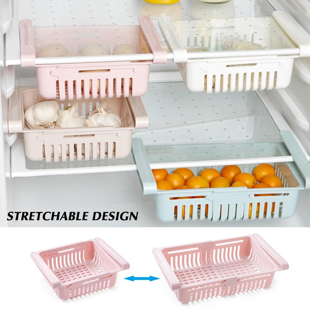 Adjustable Stretchable Refrigerator Organizer Drawer Basket Refrigerator Pull-out Drawers Fresh Spac