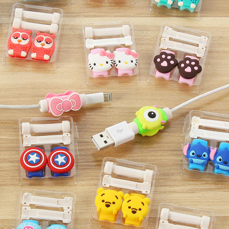 1 Cartoon 8 Pin Cable Protector de cabo USB Cable Winder Cover Case For IPhone 5 s SE 6 6s 6splus 7