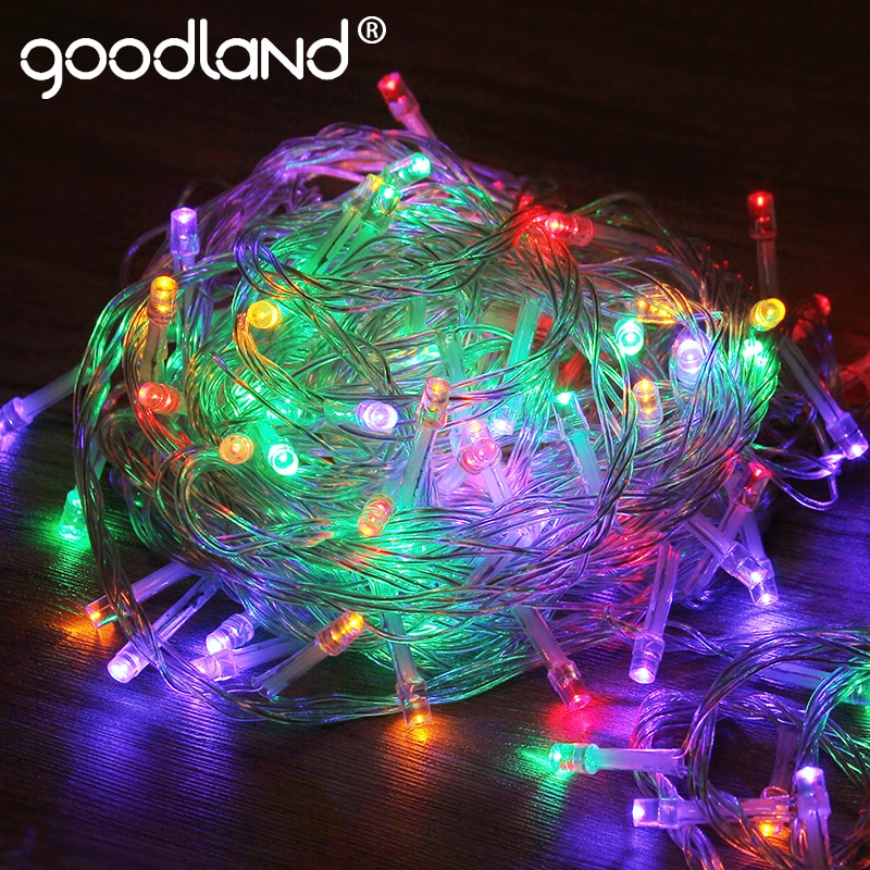 Goodland Garland 10M LED cadena de luces 110V 220V Luz de Navidad cadena Hada para exteriores luces a prueba de agua para decoración de fiesta