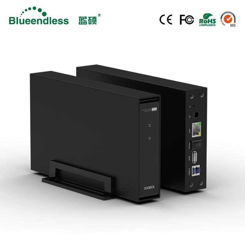 Blueendless wireless NAS storage hdd enclosure 3.5'' sata RJ45 USB 3.0 PC hard disk case