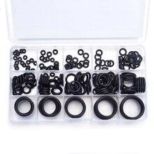 Joint en Silicone noir 15 tailles   200 pièces, œillets en caoutchouc, assortiment de joints torchons pour machines hydrauliques avec boîte