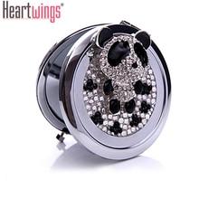 Graver des mots libres   panda chinois en strass scintillant, Mini miroir de poche de beauté, miroir compact de maquillage en acier inoxydable, cadeau de mariage