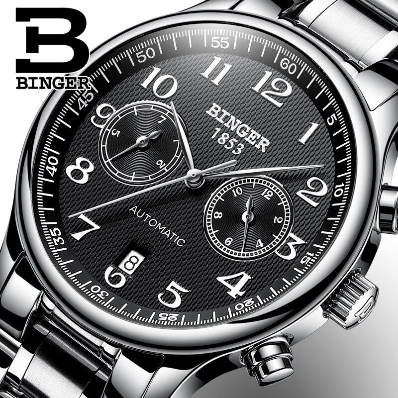 Marca de Luxo Relógio à Prova Suíça Automático Relógio Mecânico Masculino Safira Binger Relógios Dwaterproof Água Masculinos B-603-52