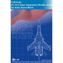 GALAXY Model D48007 1/48 Scale SU-34 Colour Separation Flexible Die-cut Mask for Kitty Hawk 80141 Aircraft Model