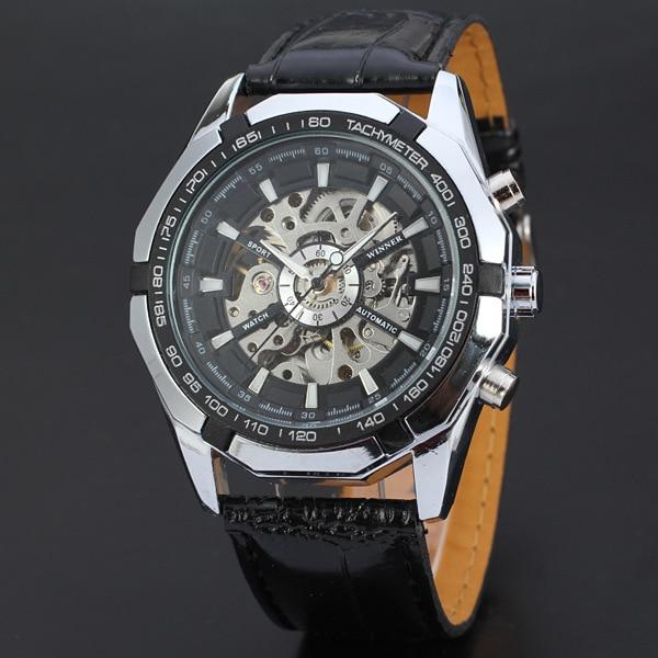 WINNER Men Famous Brand Watches  Mechanical Self Wind Wrist Watch Fashion Sports Hombre Leather Strap Mechanical Watch