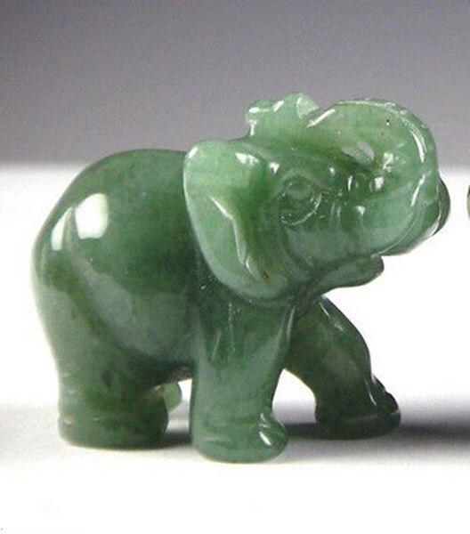 Envío Gratis estatua de elefante de la suerte Feng Shui de Jade Aventurina verde de 2 pulgadas