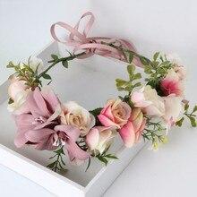 Guirlande couronne couronne de roses   Halo fait à la main pour Festivals de mariage voyage, couronne de fleurs pour filles, décorations pour bandeau coroa de flores