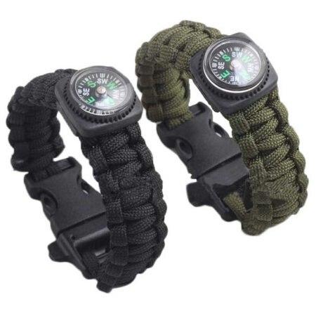 Survival bracelet Outdoor Umbrella Rope Compass Bracelet Self-rescue Parachute Cord Bracelets Compass Camping Travel #30