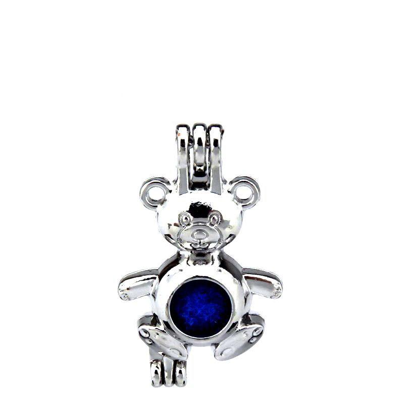 KK199 Trendy Teddy Bear Beads Cage Necklace Bracelet Jewelry Making Aromatherapy Essential Oil  Locket Pendant