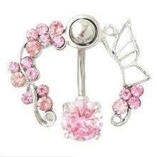 Punk rose blanc inverse CZ Nave Piercing anneau 14G fleurs papillon ventre anneau haut bas nombril Piercing corps bijoux