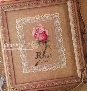Envío gratuito, Kit de punto de cruz de alta calidad con cuentas, flor de amor rosa de encaje