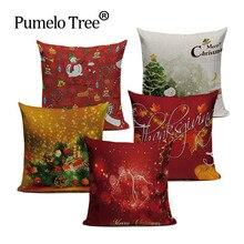 Feliz natal algodão linho o padrão almofadas fronha cojines 45 cm x 45 cm quadrado casa escritório mobiliário travesseiro caso