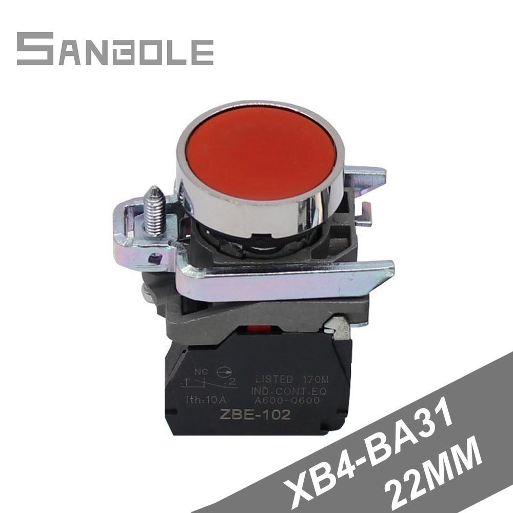 XB4-BA31 XB4-BA42 de pulsador de reinicio interruptor instalación calibre 22mm plata contactos auto-restablecer Momeantary