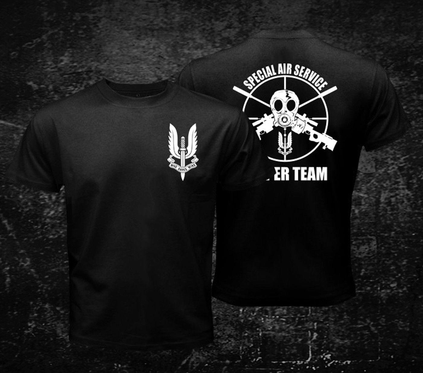 2019 engraçado sas sniper-camiseta preta masculina personalizada camiseta dupla face unisex