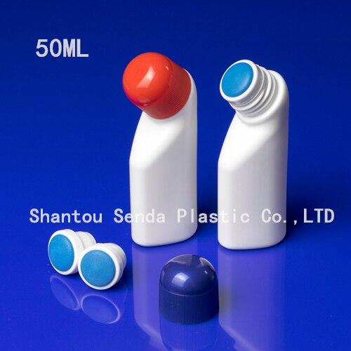 ¡Envío Gratis! 20 unids/lote, tapa de esponja de color superior, botella de nuevo diseño para líquido, botellas de plástico de 50ml con aplicador de esponja