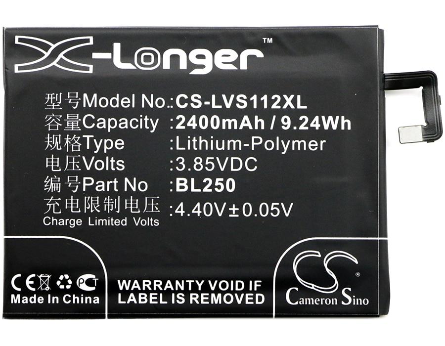 Cameron Sino 2400mAh Battery BL250 for Lenovo S1a40, S1a40 Dual SIM TD-LTE, S1c50, S1c50 Dual SIM TD-LTE, Vibe S1