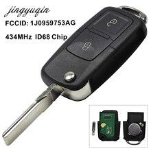 Jingyuqin-porte-clés à 2 boutons   Puce ID48 434MHz, pour VW Beetle Bora Golf Passat Polo transporteur T5 1J0959753AG