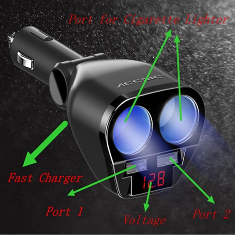 Cargador de coche Dual USB 3 en 1 DC5V 3.1A USB con voltaje/temperatura/medidor de corriente Tester adaptador pantalla Digital
