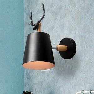 Novelty Wood Metal LED Wall Lamp Vintage Indoor Lighting Nordic Antlers Restaurant Shop Wall Decorate Light Fixture AC110-265