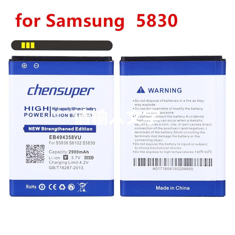 Batería de 2900mAh EB494358VU para Samsung Galaxy Ace 5830 S6802 B7510 i569...