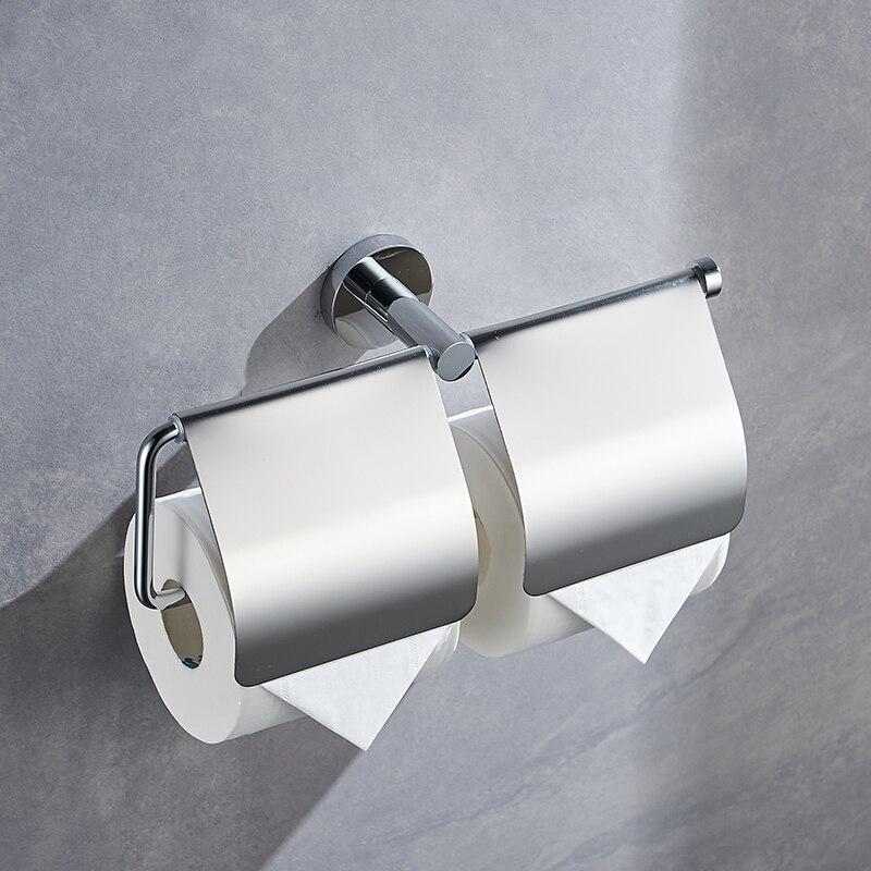 Wall Hanging  Roll Holder Polished Double Toilet Paper Holder Chrome Bathroom Pendants Set Napkin holder Brushed Stainless Steel