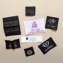 Étiquettes tissées en fer sur vêtements   Personnalisées, 1000 pièces/lot, avec logo de marque, étiquettes adhésives chauffantes avec colle thermofusible, livraison gratuite