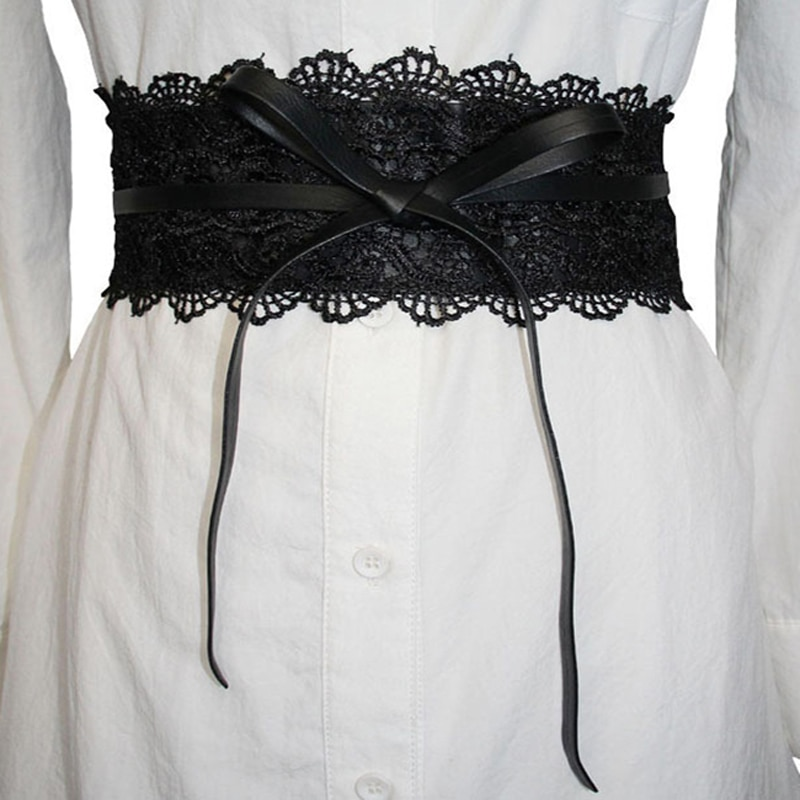 Elastic Lace Black Belts Cummerbund For Women Luxury Brand Designer Belts Costumes Jeans Belt Female