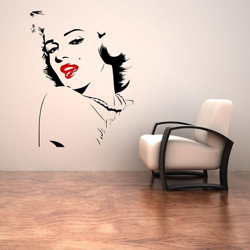Arte vinil adesivos de parede marilyn monroe sexy lábios vermelhos remover decalque quarto sala estar decoração para casa um cartaz zx531