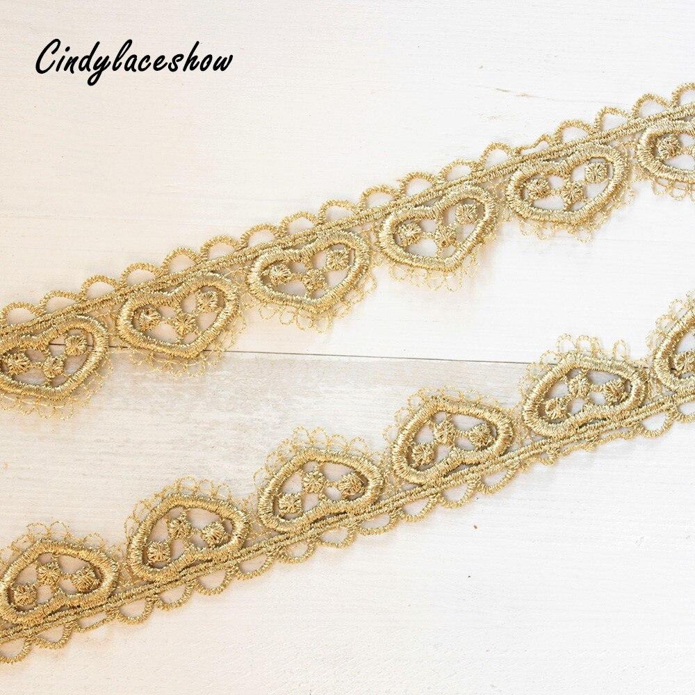 2 jardas coração ouro laço guarnição fita vestido de casamento tecido renda para costura artesanato diy borda lingeire acessórios roupas
