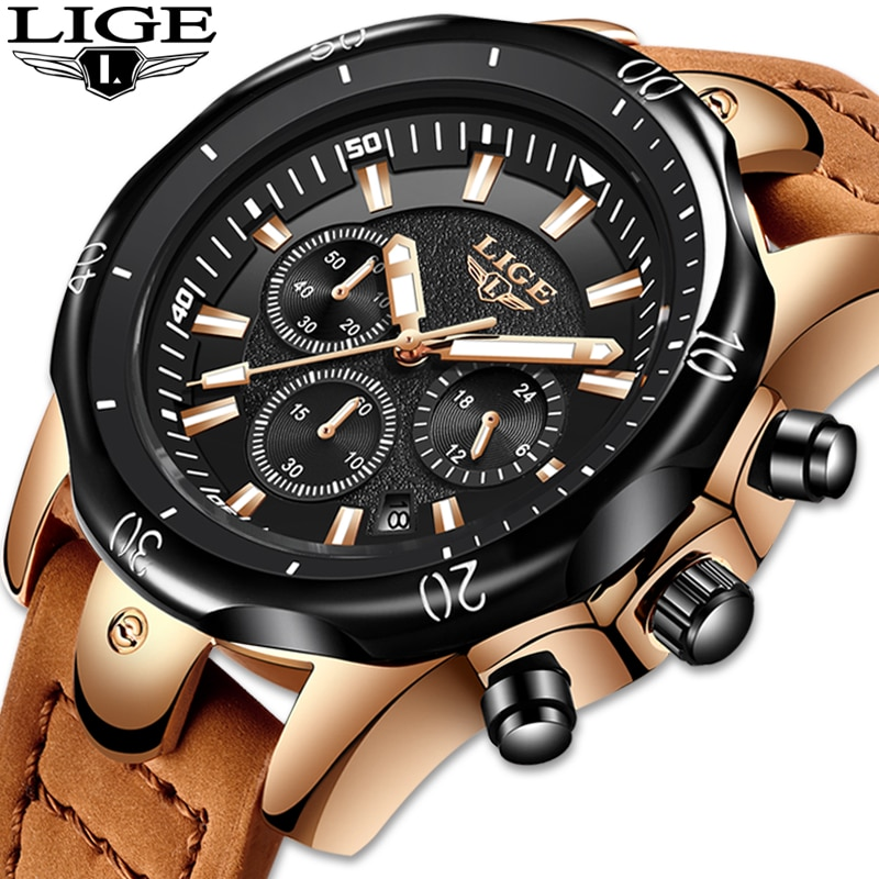 Reloj de pulsera para Hombre, novedad de 2019, reloj de pulsera de cuarzo LIGE para Hombre, Esfera Grande, Relojes de cuero negro dorado para Hombre, cronógrafo resistente al agua para deportes salvajes