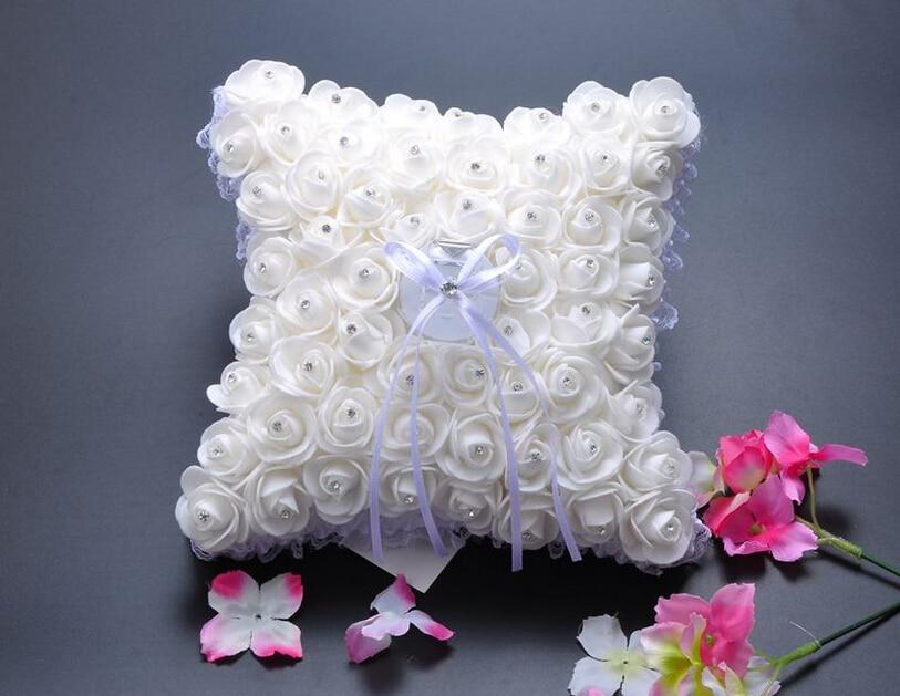 20x20 cm blanco cuadrado PE Rosa flor con cinta diamantes de imitación boda ceremonia anillo portador almohada