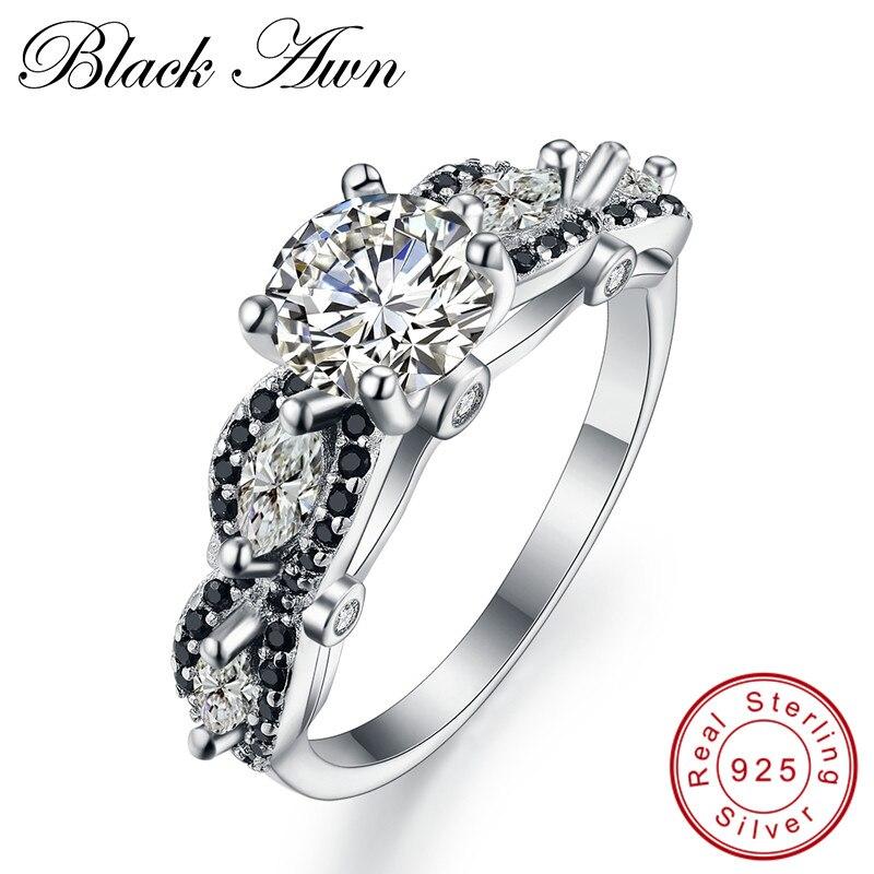 [Negro AWN] negro y blanco plata anillo eternidad joyería anillos de boda de moda para las mujeres anillo de compromiso Femme Bijoux Bague C160