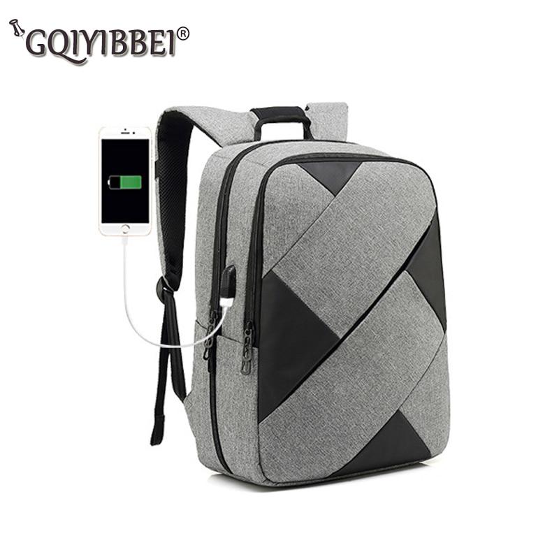 Nuevo bolso de hombro doble con costura en contraste multifunción carga USB 15 pulgadas mochilas para ordenador portátil hombres mujeres ocio viaje Stor
