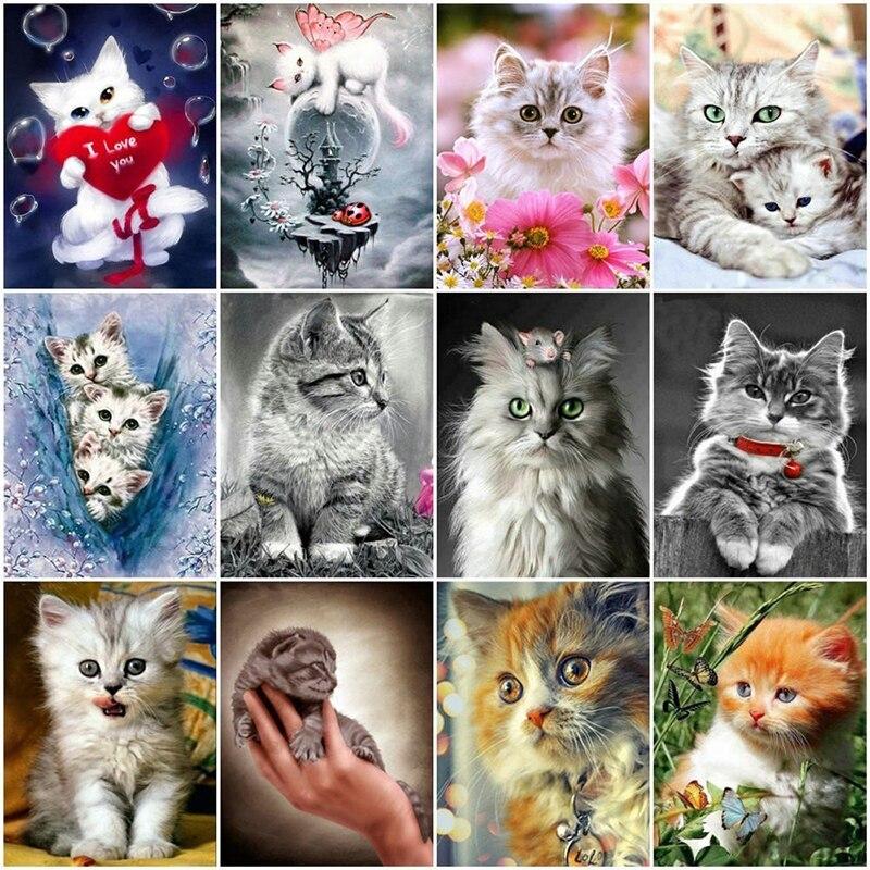 5D Diamant Malerei Voll Platz Katze Strass Bilder Tiere Diamant Stickerei Diamant Mosaik Verkauf Cartoon Beadwork