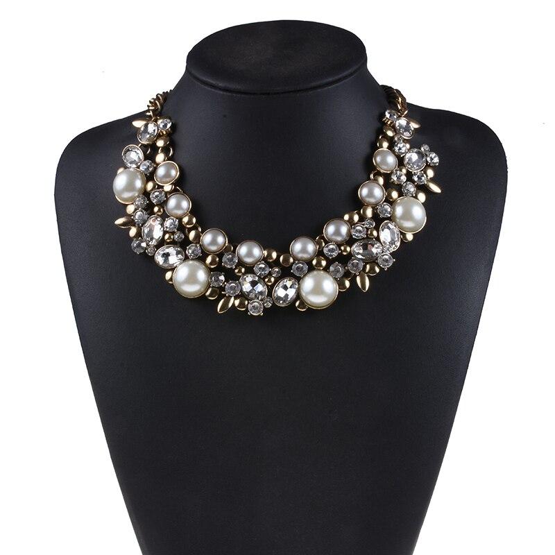 Женское Массивное колье-чокер с искусственным жемчугом, большой нагрудник, ожерелье с большим воротником, женское роскошное хрустальное ожерелье ZA, ювелирные изделия, 2019
