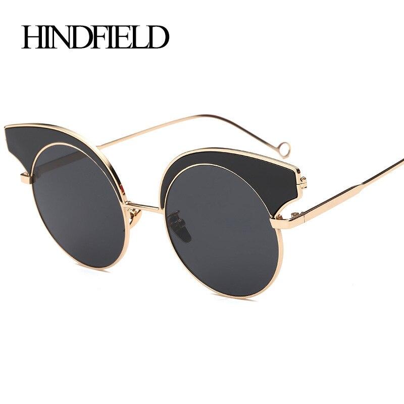 LONSY Luxury Half Metal Sunglasses Women Brand Designer Retro Oversized Sun Glasses Woman Fashion La