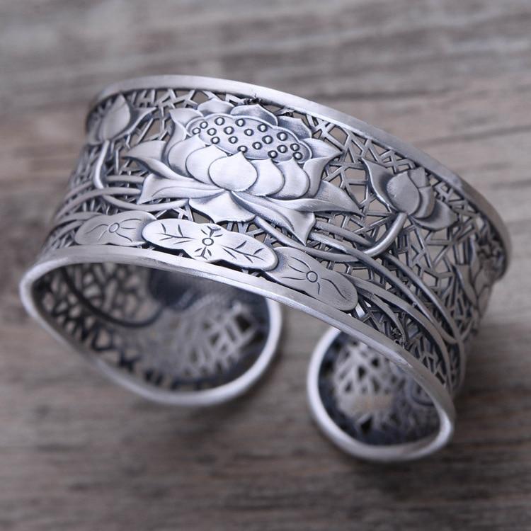KJJEAXCMY joyería fina S999 joyería de plata esterlina retro taiyin hollow-out lotus flor mujer estilo pulseras moda wi