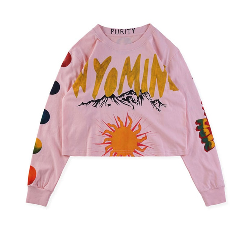Nuevo Álbum Kanye West de Wyoming, camisetas de Hip Hop con letras doradas impresas, camiseta de manga larga rosa de moda de Kanye West