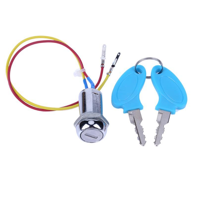 VODOOL, 2 cables, Pedal ATV, bicicleta eléctrica plegable, ciclomotor Go-kart, interruptor de encendido, llave, interruptor de encendido para bicicleta