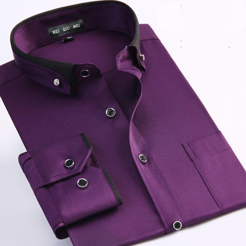 جديد وصول الربيع الذكور أزياء الزفاف اللباس الصلبة اللون الأرجواني اللباس قميص اضافية كبيرة زائد حجم M-3XL4XL5XL6XL7XL8XL9XLL