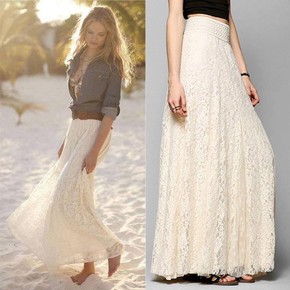 Nuevo diseño de talla grande de talle alto sólido Falda larga con encaje de mujeres doble capa plisada largo Maxi falda con cintura elástica