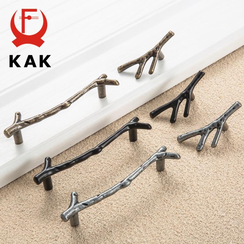 KAK 10pcs Tree Branch Furniture Handle 96mm 128mm Black Silver Bronze Kitchen Cabinet Handles Drawer Knobs Door Pulls Hardware