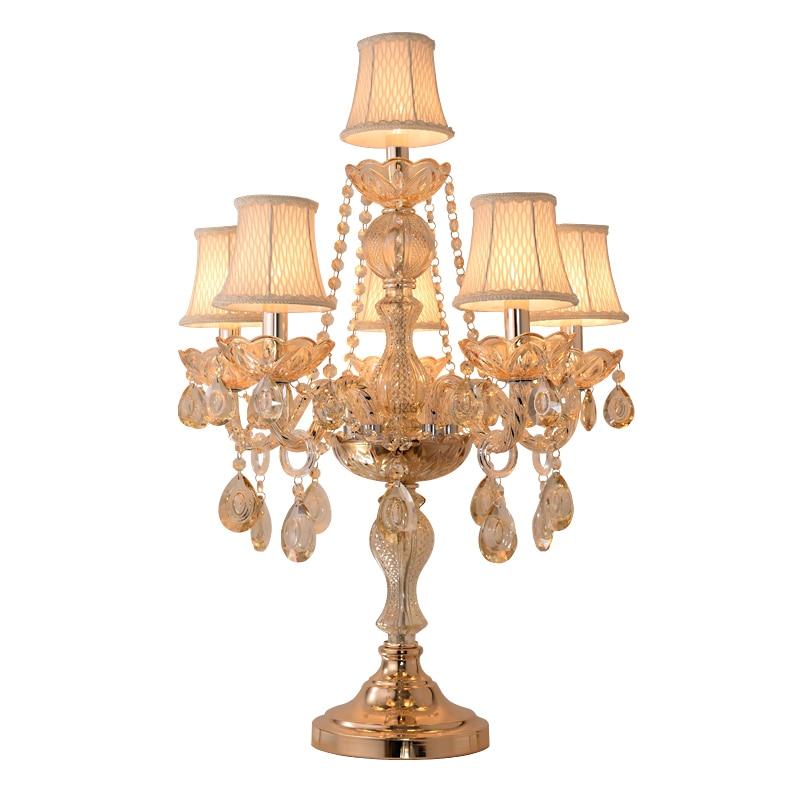 مصباح كريستال أوروبي فاخر ، مصباح بجانب السرير لغرفة النوم ، غرفة زواج دافئة ومبتكرة ، مصابيح ديكور حديثة أمريكية