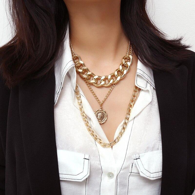 Punk miami cubana gargantilha colar colar colar colar vintage grande círculo grosso corrente colar pulseira conjunto feminino hip pop jóias