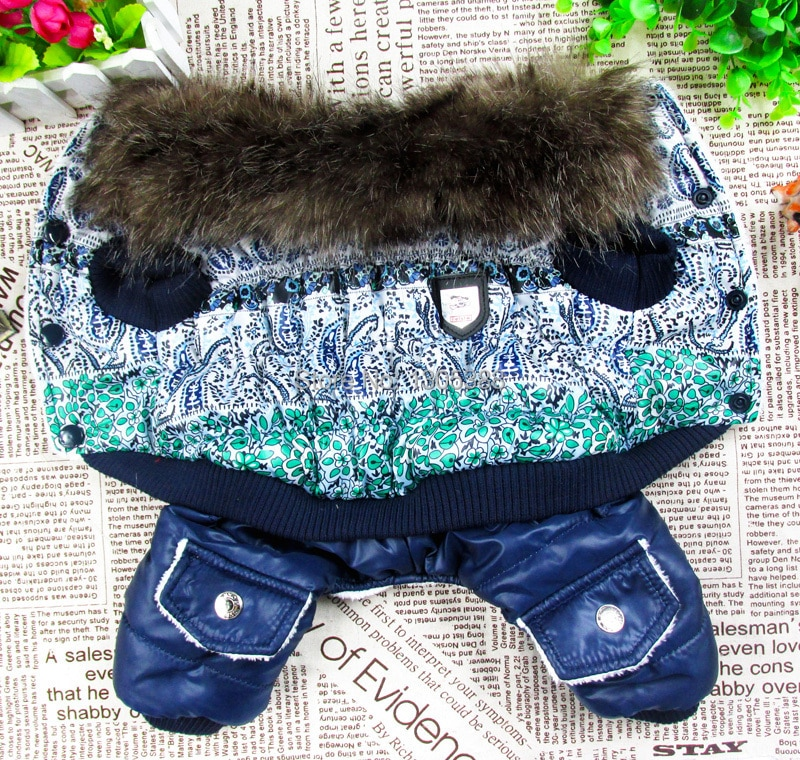 Azul e branco bolha acolchoado estilo de pele de luxo pet cães casaco de inverno livre shiping por cpam roupas cães